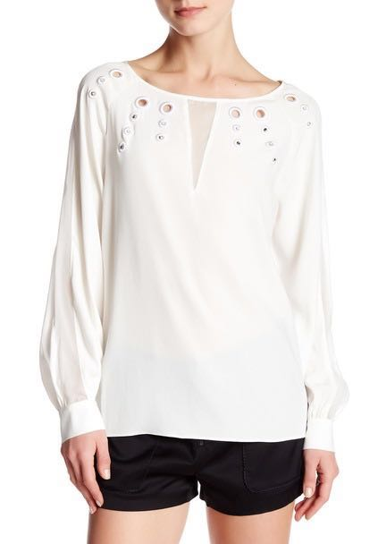 Ramy Brook Long Sleeve Silk Top