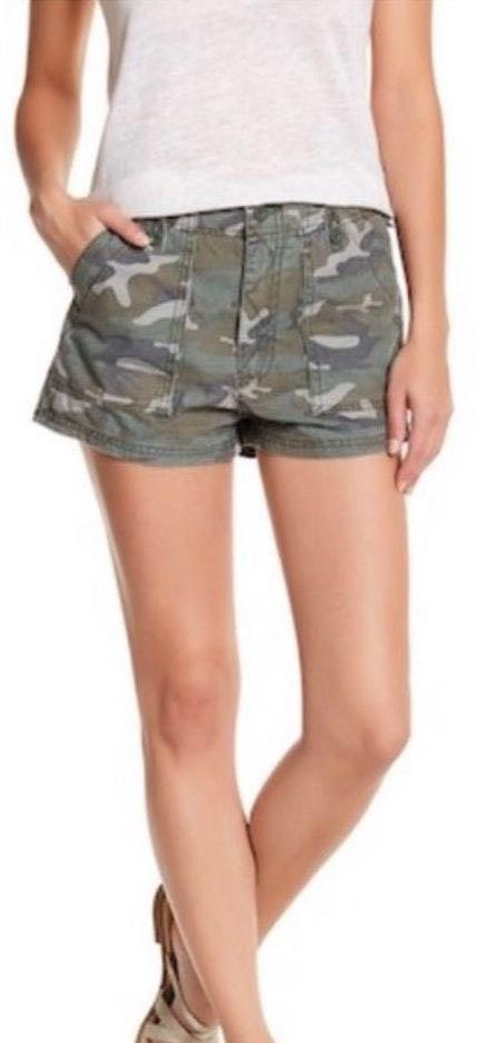 Free People High Waisted Camo Shorts
