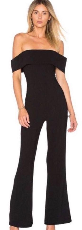 Revolve Off The Shoulder Black Jumpsuit