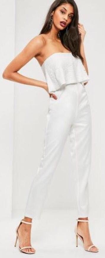 Missguided White Jumpsuit