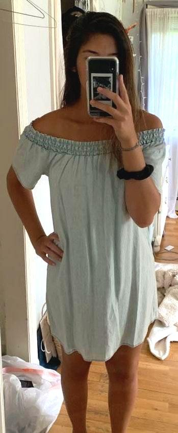 Michael Stars Off The Shoulder Chambray Dress
