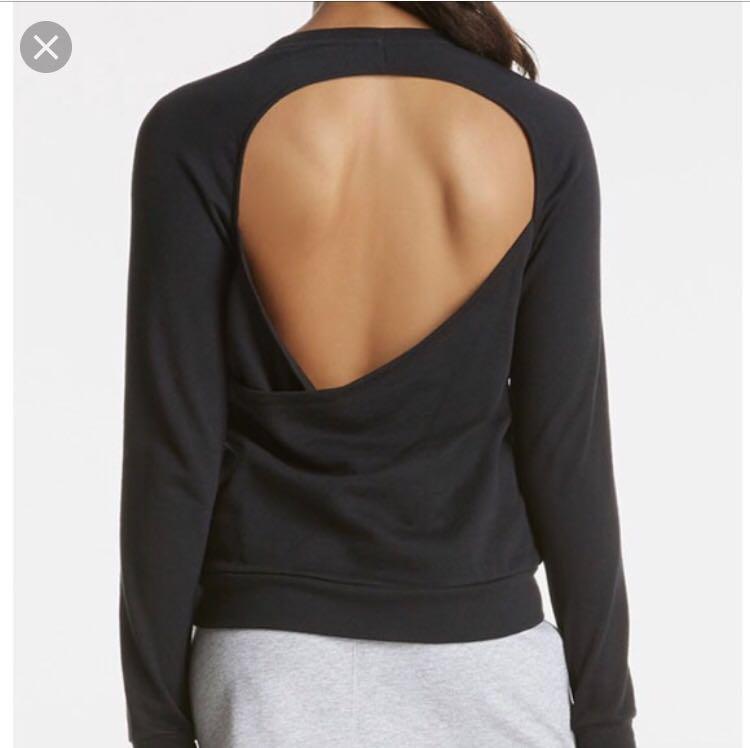 Black Open back detail sweatshirt