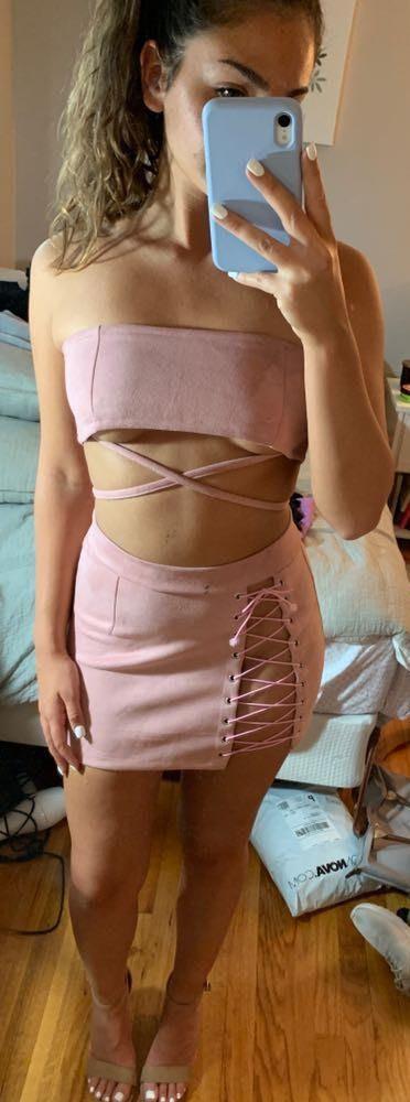 Faux Suede Lace Up Two Piece Dress