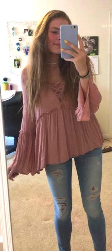 pink boutique flowy top