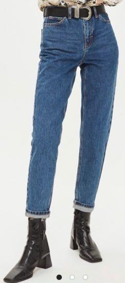 Topshop High Waisted Moto Mom Jeans