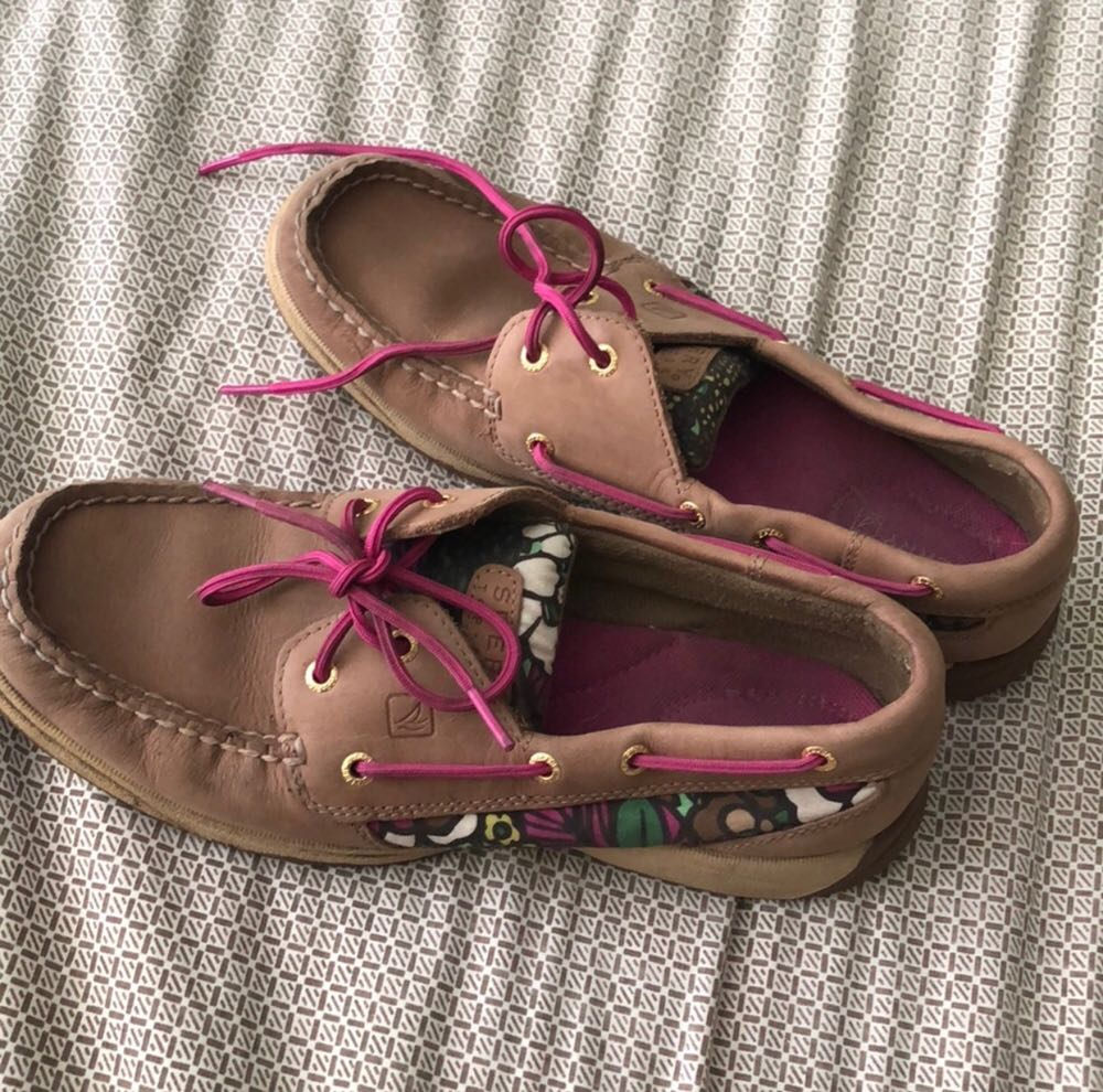 Sperry Tan And Print  Boat Shoes