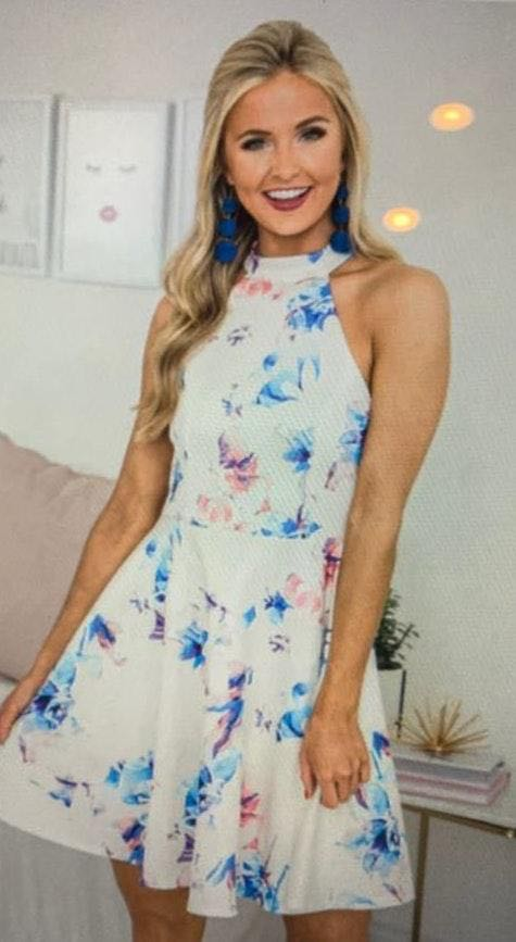 Pink Lily White Floral Dress