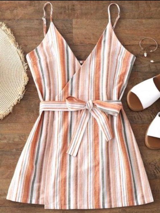 Zaful Wrap Dress - Blush Pink w Stripes