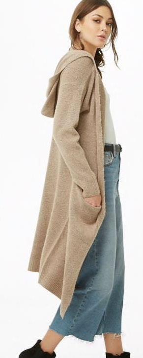 Tan Soft Longline Hooded Cardigan