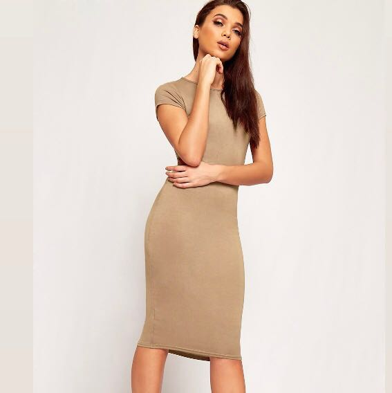 570a7875181c We re the buy sell app for cute clothes. Say to being bored of your  clothes. Home Tan Nude Tight Bodycon Midi Dress