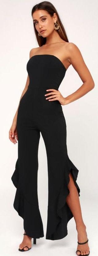 Lulus Black Strapless Ruffle Leg Jumpsuit