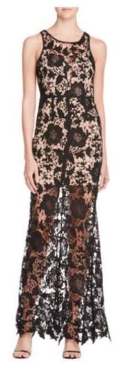 AQUA Black Lace Illusion Dress