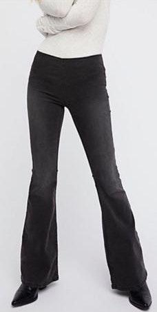 Free People Black Pull On Flare Jeans