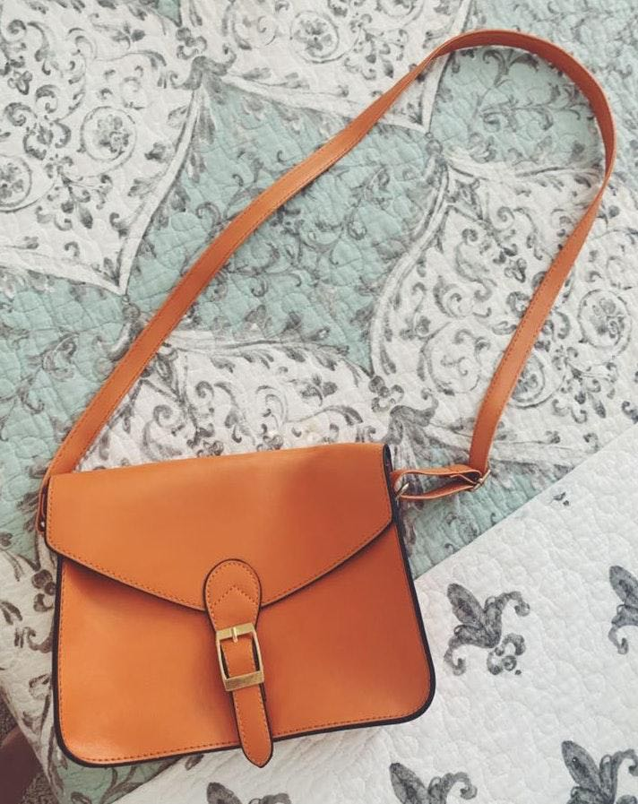 Orange Faux Leather Purse