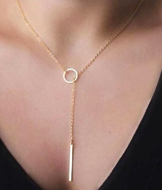Chic Y Shaped Circle Lariat Style Chains