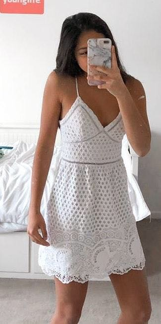 Abercrombie & Fitch White Detailed Mini Dress