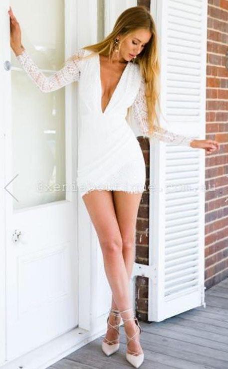 Xenia Lace Deep V Body Con Dress