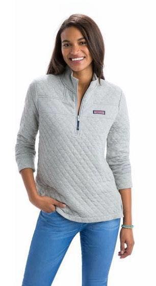 Vineyard Vines Gray Quilted Shep Shirt Pullover