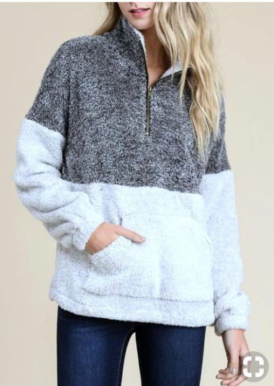 Two Tone Fleece Pullover Sherpa Quarterzip