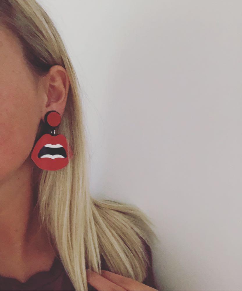 Red Lip Acrylic Earrings