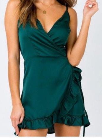 Princess Polly Emerald Green  Wrap Dress