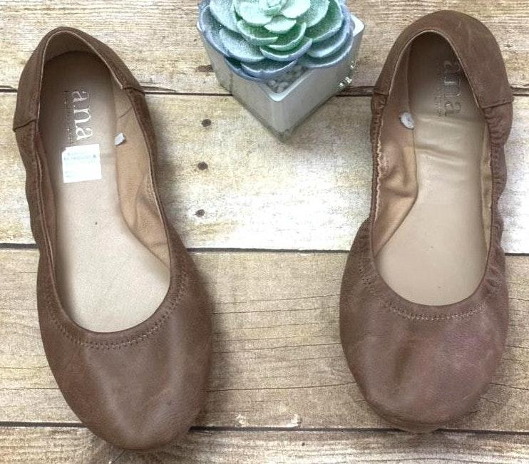 a.n.a brown leather ballet slip on