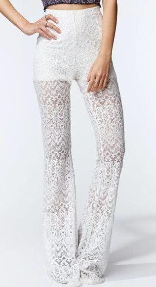 Kendall & Kylie Lace Flared Pants