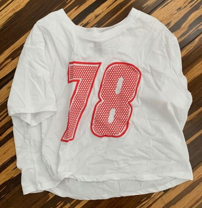 Divided white 78 crop top