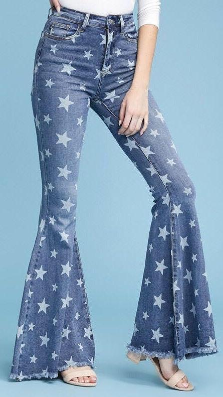 Star Print Flare Jeans