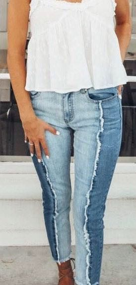 Hayden High Waisted Two Toned Frayed Jeans