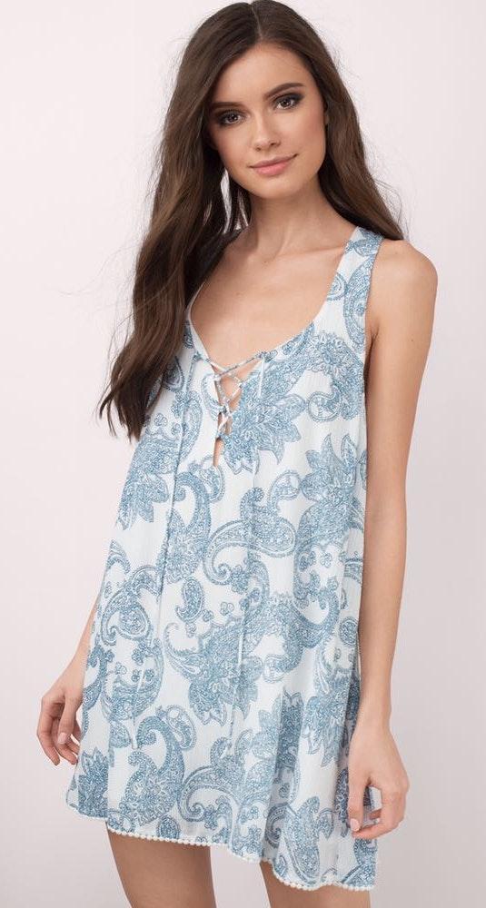 Tobi Blue Paisley Lace Up Dress