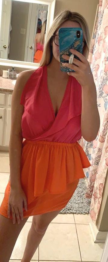 Umgee orange/ pink dress