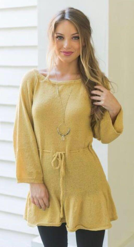 Pink Lily Mustard Sweater Dress