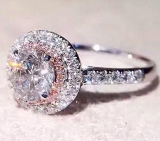 Exquisite Princess Cut White Pink CZ Ring~Sz 7