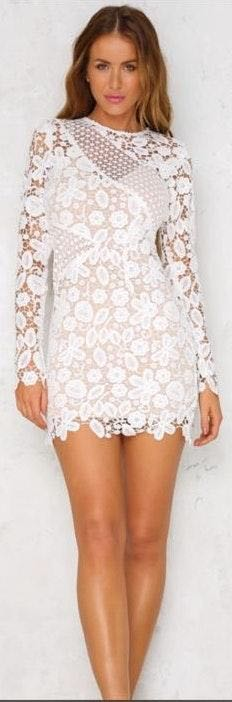 Hello Molly Long Sleeve White Lace Mini Dress