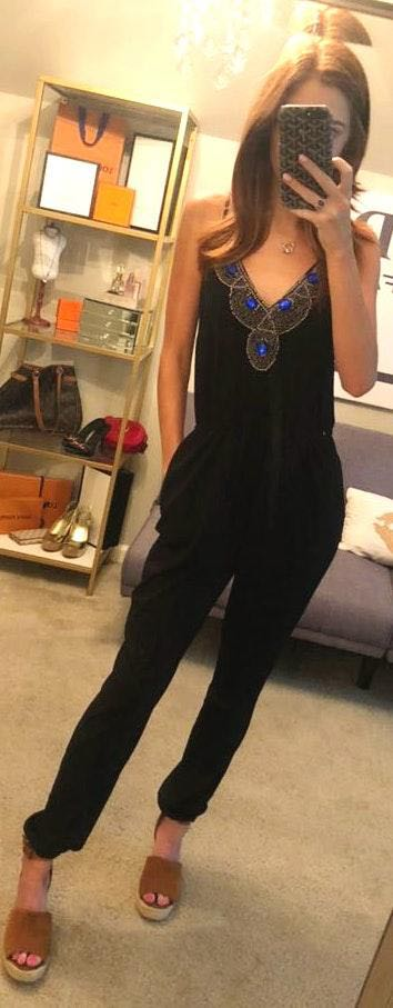 Charlotte Russe Jeweled Black Jumpsuit