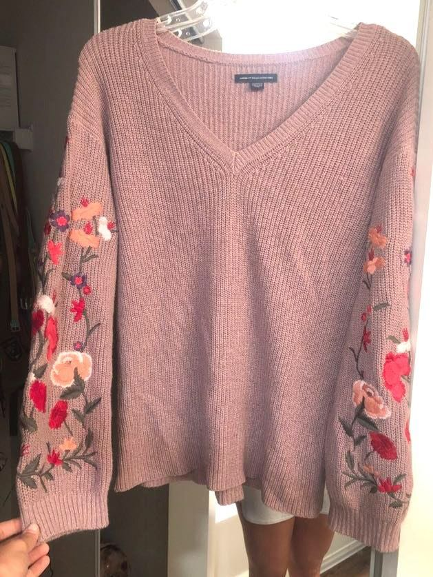 American Eagle Outfitters Floral Embroidered Long Sleeve Sweater