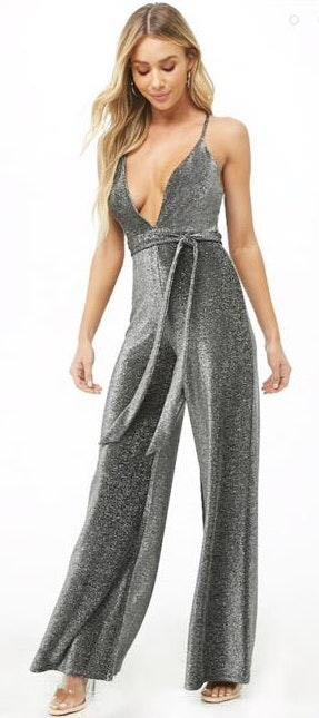Forever 21 Plunging Belted Metallic Jumpsuit