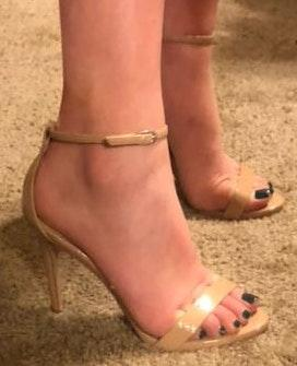 David's Bridal Nude Strappy Heals