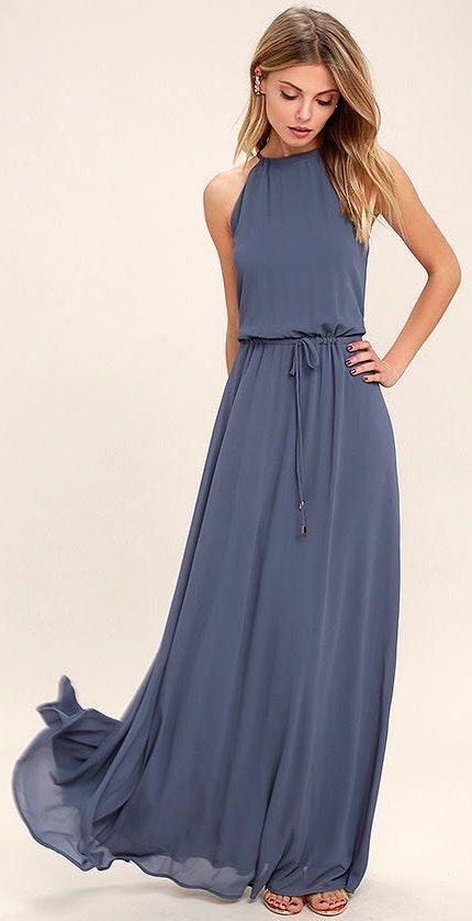 Lulus Be Mellow Denim Blue Maxi Dress