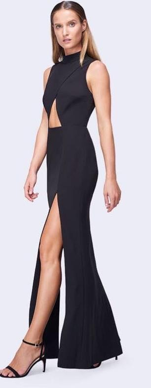 Fame and Partners Black Cutout Open Back Formal Dress