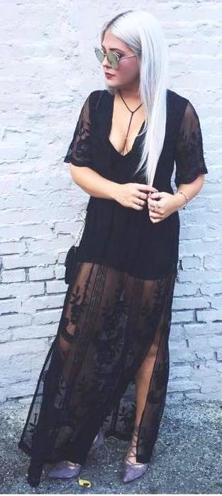 d6feaed7c303 We re the buy sell app for cute clothes. Say to being bored of your clothes.  Home Honey Punch Black Lace Maxi Romper