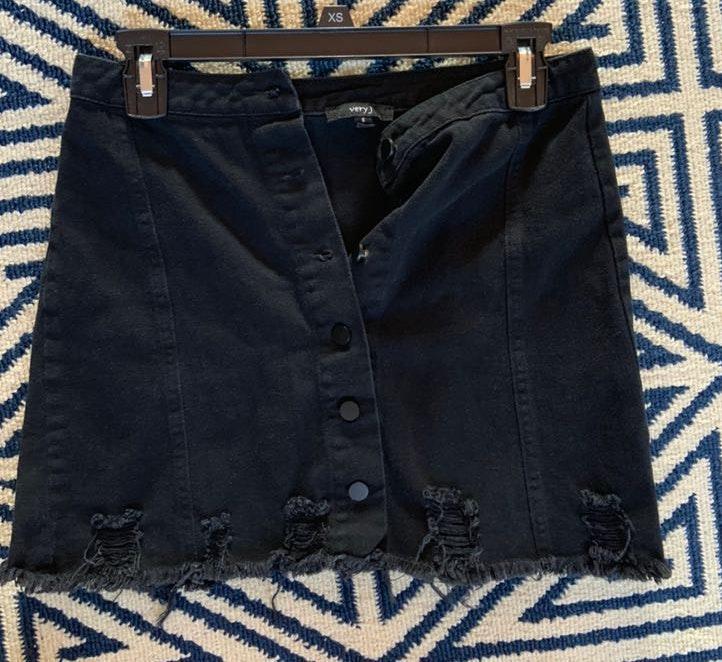 Dress Up Black Denim Distressed Skirt