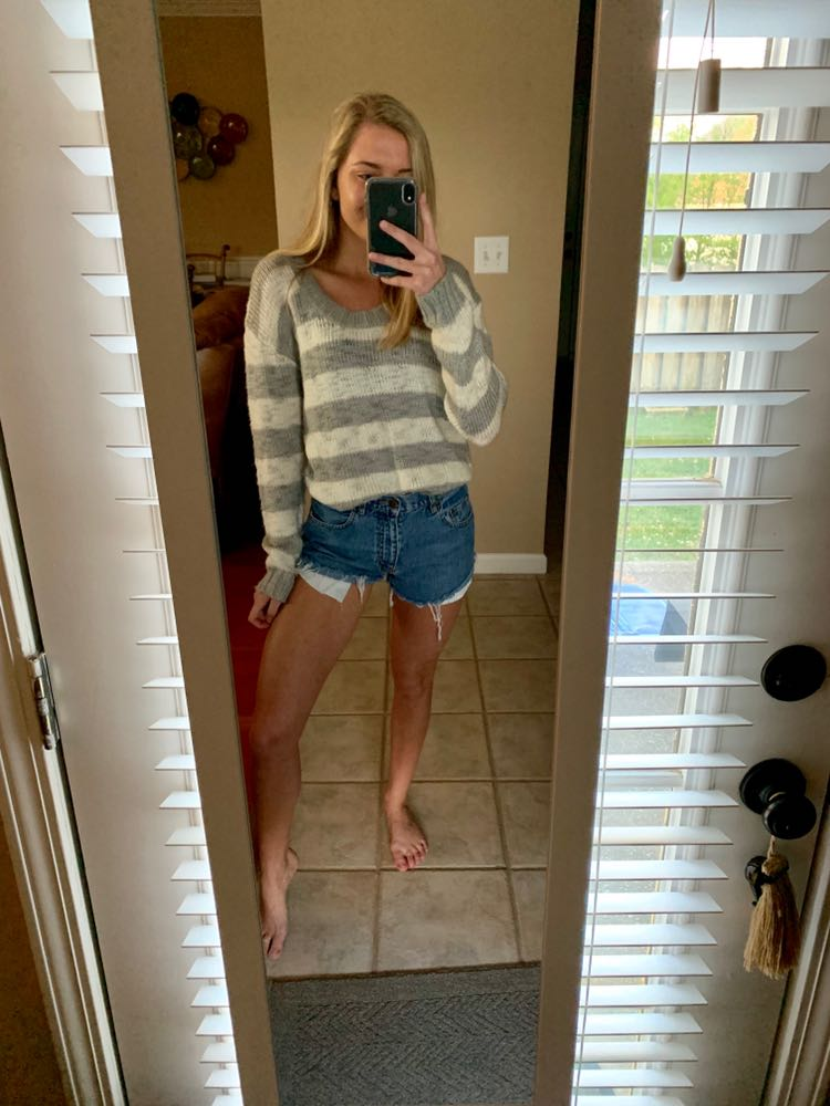 Knitted Striped + Cropped Sweater