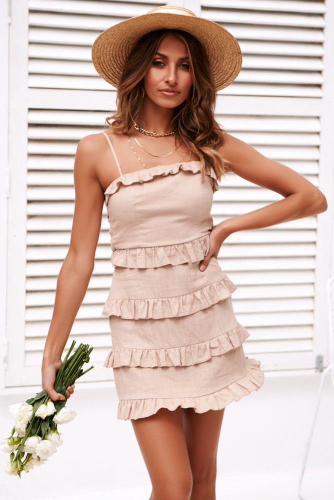 Hello Molly Beige Ruffled Dress