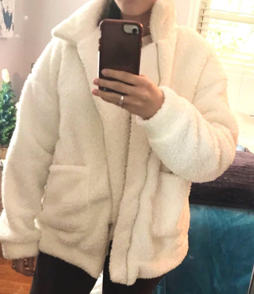White fluffy faux jacket