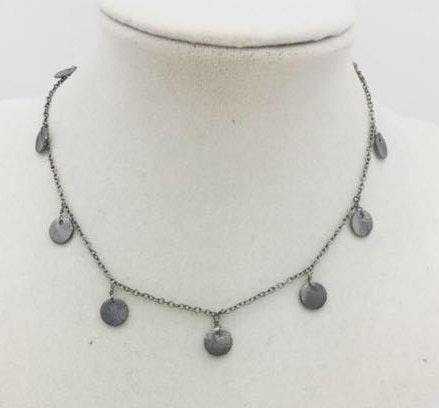 gunmetal coin necklace