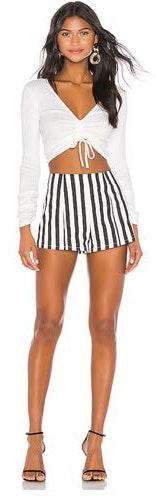 Revolve Black & White Striped Shorts