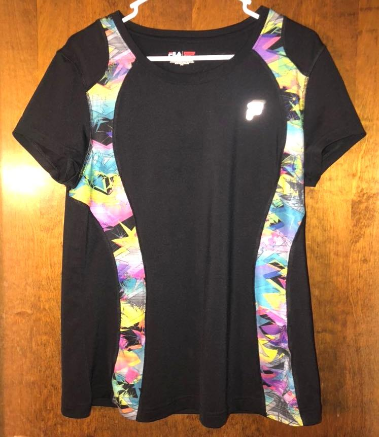 FILA Black And Patterned Athletic Tee