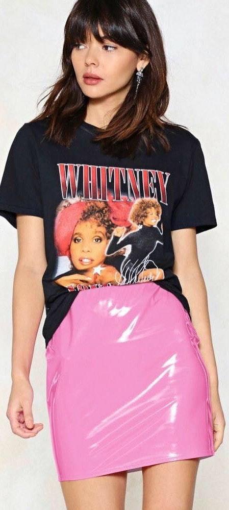 Nasty Gal Pink Vinyl Skirt